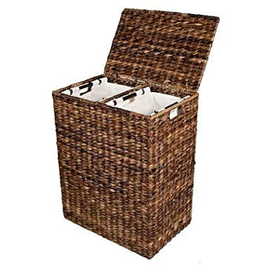 BirdRock Home Abaca Divided Laundry Hamper | Hand Woven | Machine Washable Cotton Canvas Liners