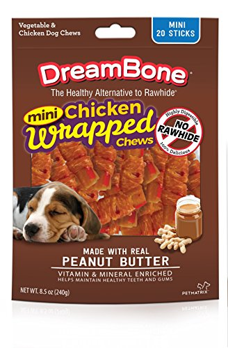 Wrap Dog Chew Treat (Dreambone Chicken Wrap Mini Stick Small Breed Peanut Butter Chews Dog Treat, 20 Ct (1))
