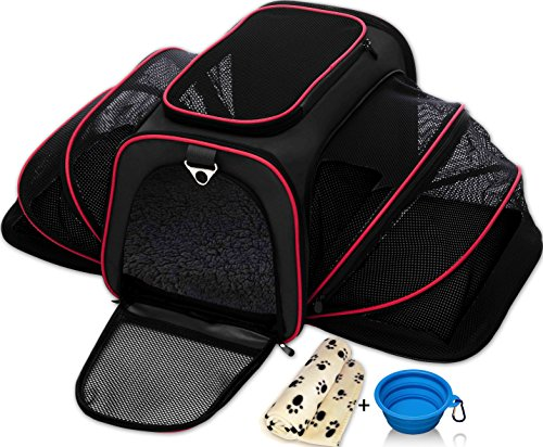 Expandable Pet Cat Carrier for Small Dogs and Cats - Soft Sided Crate - Airline Approved Medium Kennel Travel Bag - Fits Under or Top of Seat - 2.8 lbs Dog Carriers with Bonus Blanket & Bowl (Black)
