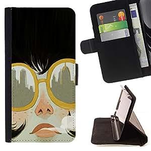 For HTC Desire 626 626w 626d 626g 626G dual sim Case , Fumar Ciudad gafas de sol de moda- la tarjeta de Crédito Slots PU Funda de cuero Monedero caso cubierta de piel