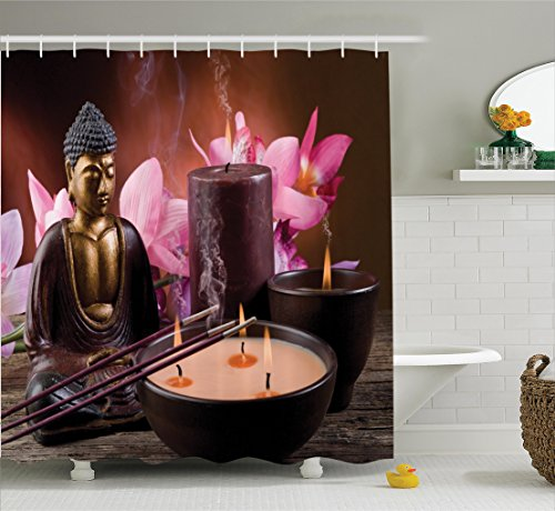 Ambesonne Buddha Decor Collection, Buddha with Candle and Exotic Floral Background Zen Faith Decorative Mystic Home Style, Polyester Fabric Bathroom Shower Curtain Set with Hooks, Brown Golden by Ambesonne