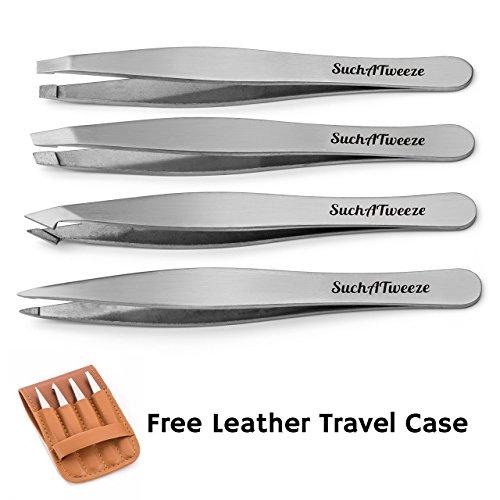 4 Tip Tweezer Set - SuchATweeze Premium Stainless Steel Precision Tweezers for Men & Women. Guaranteed Best Straight, Slant, Ingrown Pluckers for Shaping Eyebrows (Stainless Steel)