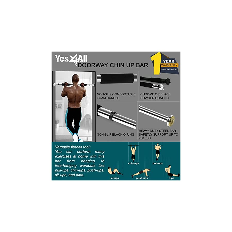 """Yes4All Doorway Chin Up Bar for 28 to 32"""" Door Opening (Chrome Black Grip New)"""