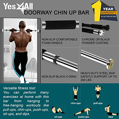 "Yes4All Doorway Chin Up Bar for 28 to 32"" door opening (Chrome Black Grip New)"