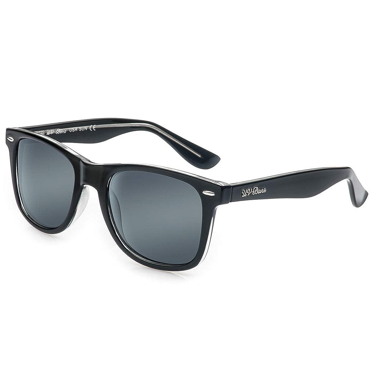 f3d0f724fecd Amazon.com  UV-BANS Polarized Sunglasses for Men Women 100% UV400  Protection (Black designer sunglasses)  Clothing