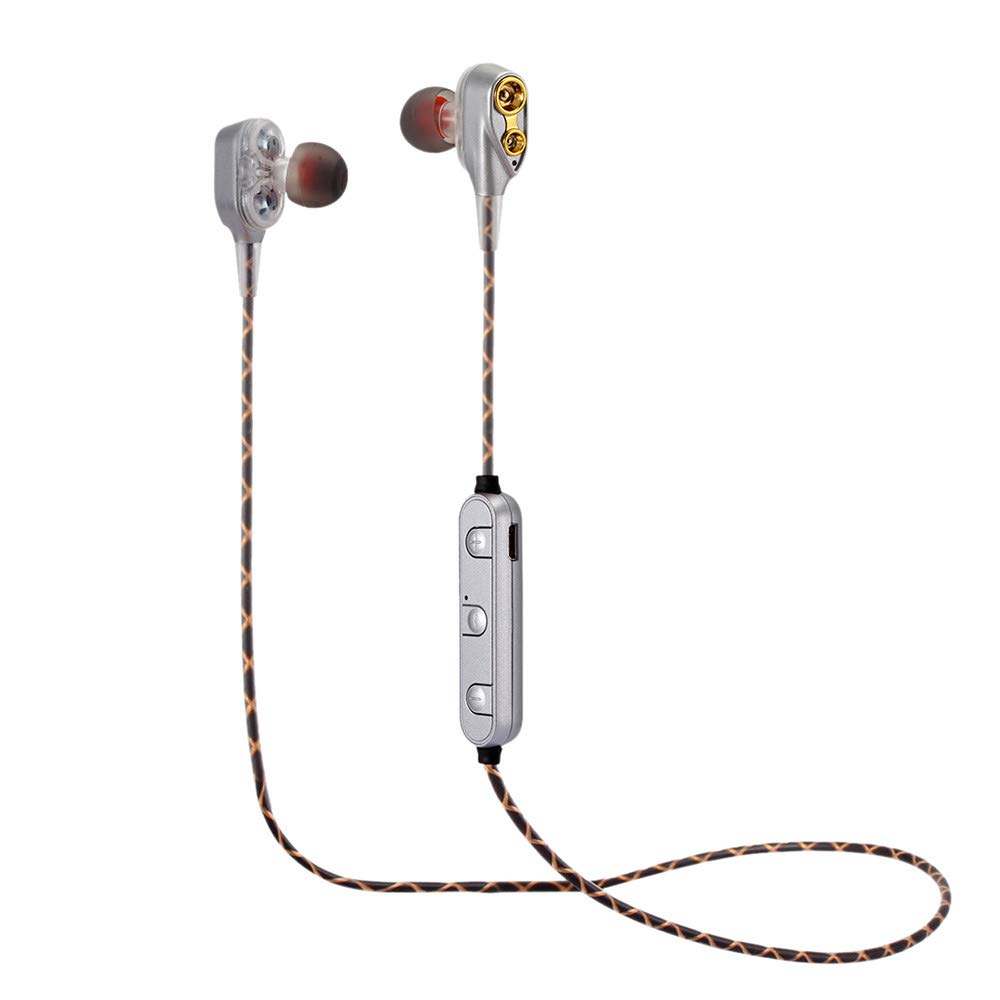 Fenebort クリスマス アクセサリー ワイヤレス Bluetooth ヘッドセット ヘッドホン スポーツ デュアル ダイナミック ドライバー イヤホン シルバー B07KP9M6VY シルバー
