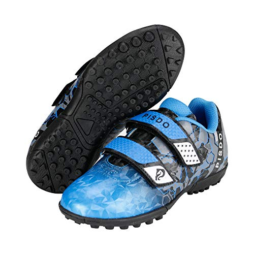 PISDO Kids Soccer Cleats Indoor/Outdoor Training Turf Soccer Shoes for Boys and Girls Little Kids/Big Kids Blue 12.5