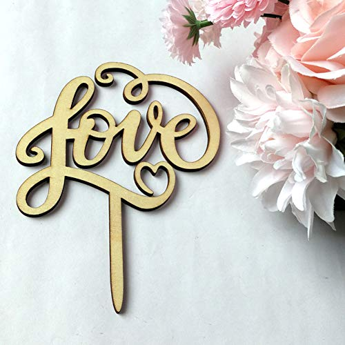 bromrefulgenc Personalized Wedding Cake Topper,Rustic Wooden Letter Love Cake Topper Wedding Party Decoration Accessory Supply ()