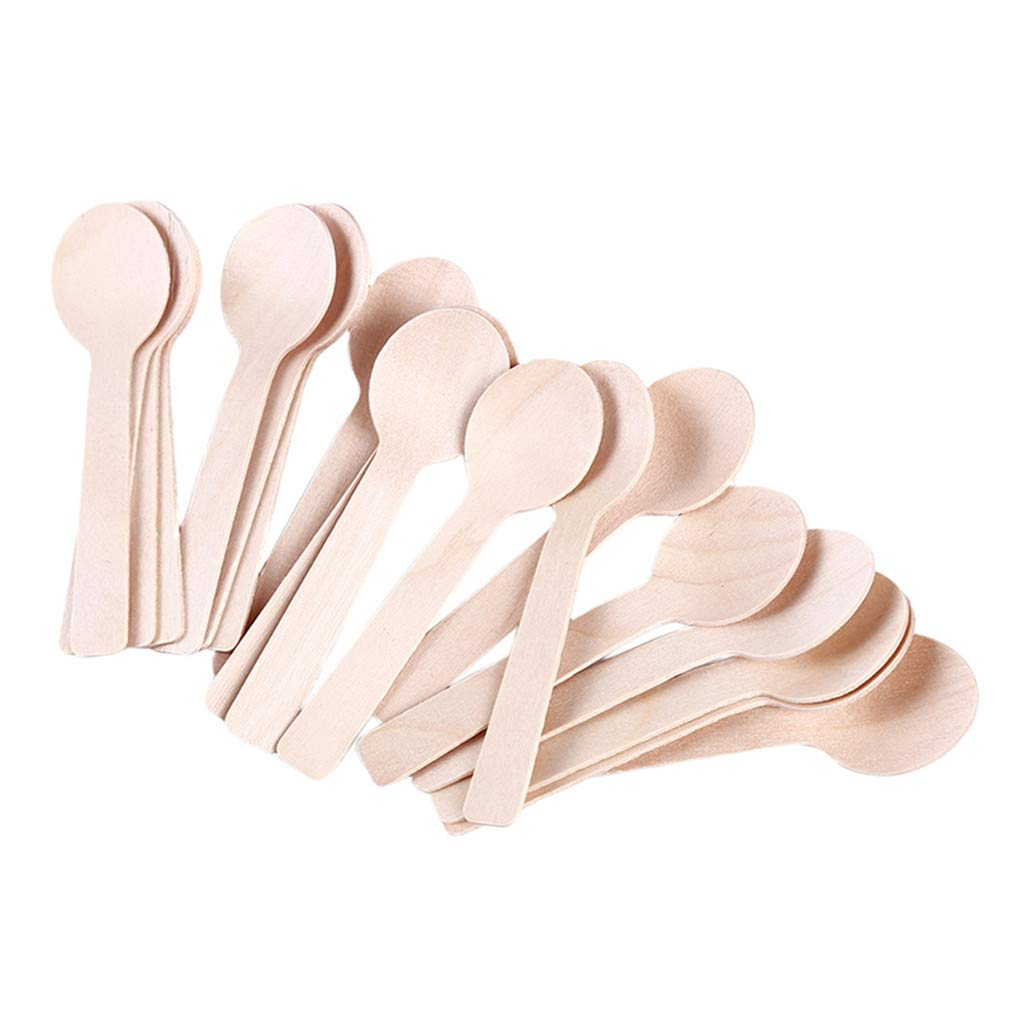 Cngstar 100 Pcs Disposable Wooden Ice Cream Spoon Mini Cutlery Coffee Set Honey Spoon Teaspoon Tableware Kitchen Accessories