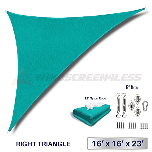 Windscreen4less 16 x 16 x 23 Right Triangle Sun Shade Sail with 6 inch Hardware Kit – Turquoise Green Durable UV Shelter Canopy for Patio Outdoor Backyard – Custom