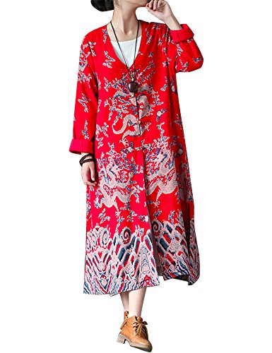 IDEALSANXUN Women's Chinese Ethnic Dragon Pattern Cotton Linen Long Trench Coat Printed Jacket With Pocket (Chinese Red, Free Size(2-10)) Free Jacket Patterns