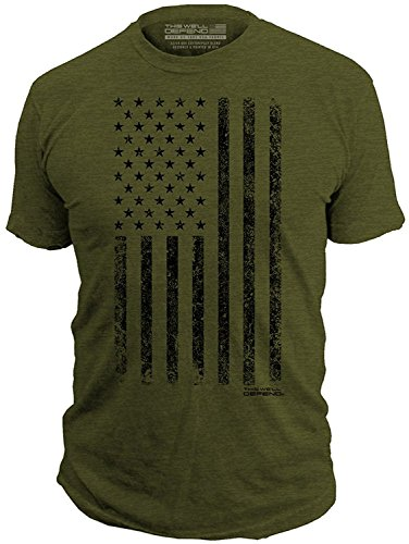 (This We'll Defend - Distressed American Flag - Made of USA - Mens 52/48 Premium T-Shirt, Olive Heather)