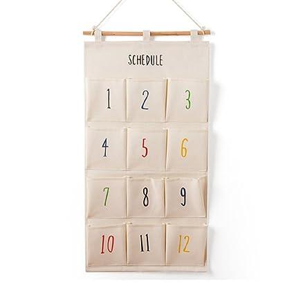 sfghouse algodón/lino la tela 12 bolsillos mensual calendario de pared para puerta armario para