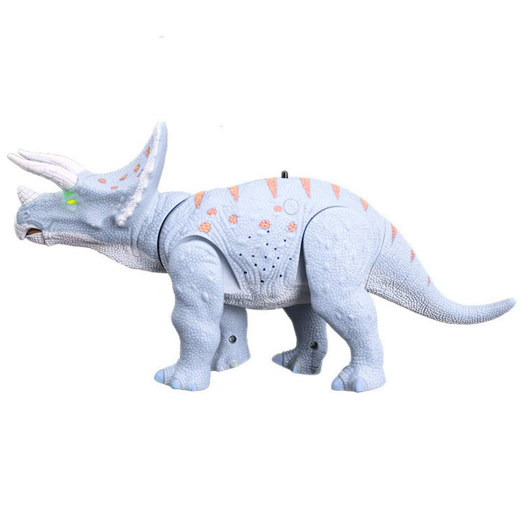 Kimanli Triceratops Toy , Kids Large Walking Moving Model Velociraptor Glowing Eyes Toys Gift (Light Blue)