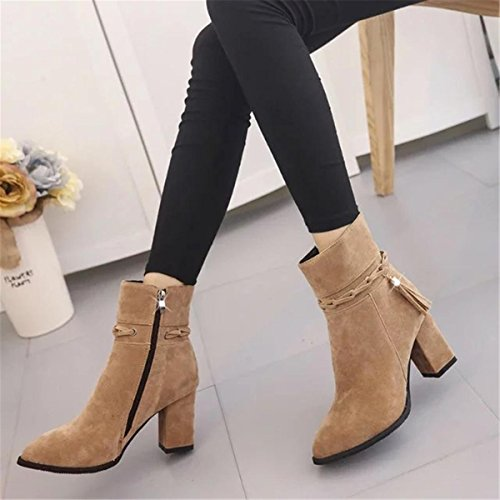 Work Stiefel Plattform Spitz Strappy Winter Neue EUR35UK3 Martin BROWN Zehen Party Herbst Kurze Damen Mid NVXIE Fashion Tassel Stiefel Schuhe Wildleder Heel Rough 7H0UZw