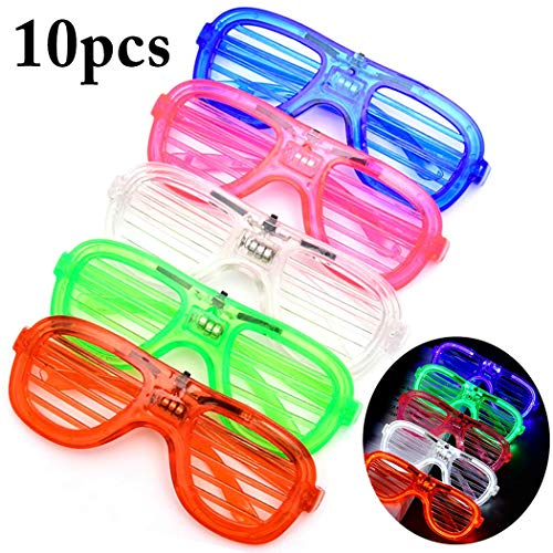 Glow in The Dark LED Glasses - LED Sunglasses Shutter Shades Accessories, Bulk Light Up Glasses, Neon Party Supplies Party Favors, (10Pk)