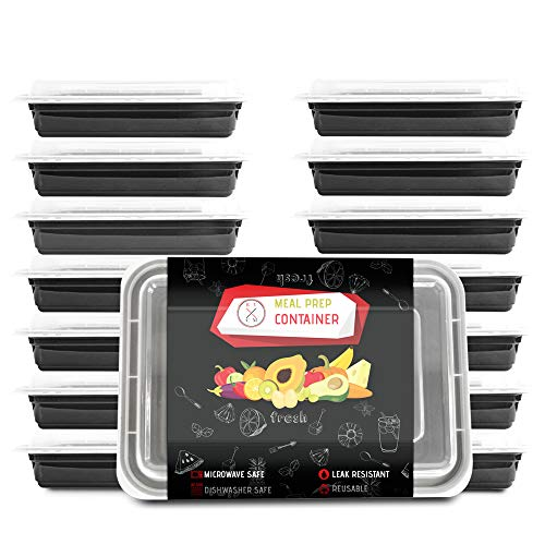 RV CM – Meal Prep Containers – With Premium Lids – {14 Pack – 28 Oz} – BPA Free, Microwave, Dishwasher and Freezer Safe– Reusable Food Storage Containers