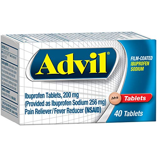 Advil (40 Count) Pain Reliever/Fever Reducer Film Coated Caplet, 200mg Ibuprofen, Rapid Release Formula, Temporary Pain Relief