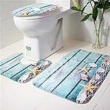 3Pcs/Set Creative Toilet Set Non-slip Rug Mat Set Toilet Lid Cover Home Bathroom Bath Accessories