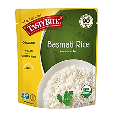 Tasty Bite Organic Basmati Rice 8.8 Ounce, Indian-Style Organic Basmati Rice, Fully Cooked, Ready to Serve, Microwaveable, Vegan Gluten-Free No Preservatives