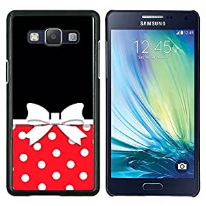 Caucho caso de Shell duro de la cubierta de accesorios de protección BY RAYDREAMMM - Samsung Galaxy A5 A5000 - Bow Lunares Rojo Blanco Negro