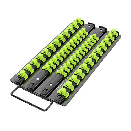 Olsa Tools Socket Organizer Tray | Black Tray with Green Clips | Holds 48 Pcs Sockets | Premium Quality Tools Organizer | by