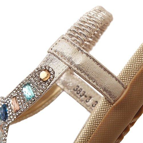 Dophingirl Donne Brillano Scarpe Estive Glitter T-strap Appartamenti Comfy String Perizoma Sandali Oro Primo