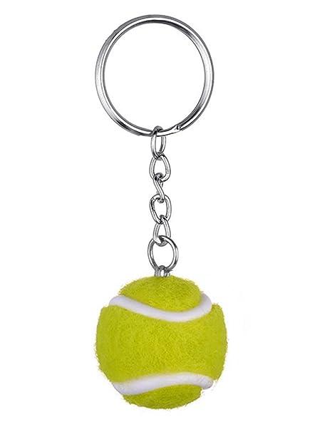 lumanuby 1 x Mini pelota de tenis llavero de aleación de ...