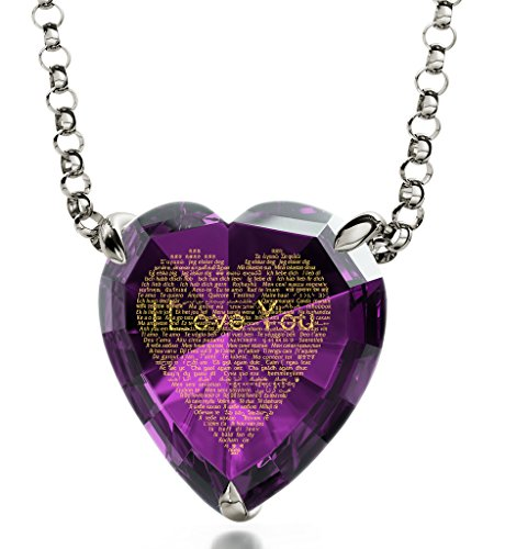 Nano Jewelry 925 Sterling Silver Heart Necklace I Love You Pendant Inscribed 120 Languages Purple Cubic Zirconia, 18