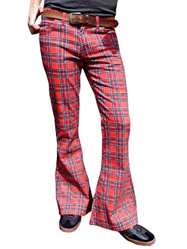Hommes Pattes Retro D'éléphant Rouge Fusées Rock Écossais Glam Pantalon 1H1wOfqxC
