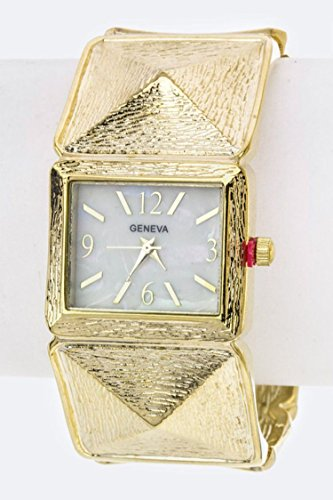 Trendy Fashion Jewelry Textured Pyramids Bangle Watch By Fashion Destination | - Trendy Fashion Womens