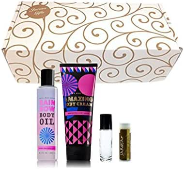 MARSHMALLOW MAGIC Bath & Body Works 4 Piece Set of Rainbow Body Oil & Amazing Body Cream in a gold scroll gift box with Jarosa Chocolate Bliss Lip Balm & a bonus glass roller bottle