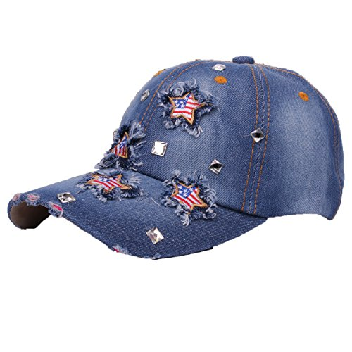 Deer Mum Ladies US Flag Denim Jean Campagne Bling Ajustable Baseball Cap Cowboy Hat (US Flag Blue 2)