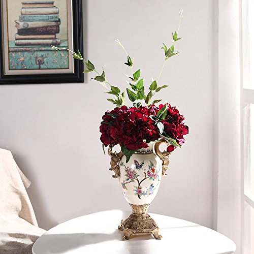 - Veryhome Hydrangea Artificial Silk Fake Flower Bunch Bouquet Arrangements for Home Wedding Garden Floral Decor (Wine Red)