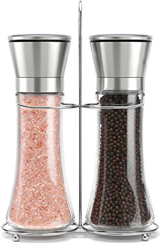 (Original Stainless Steel Salt and Pepper Grinder Set With Stand - Tall Salt and Pepper Shakers with Adjustable Coarseness - Salt Grinders and Pepper Mill Shaker Set)