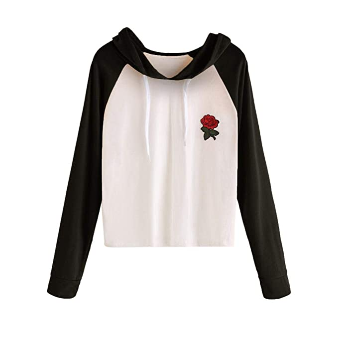 MEIbax Mujeres Rose Impreso Manga Larga Casual Camiseta con Capucha Tops Blusa