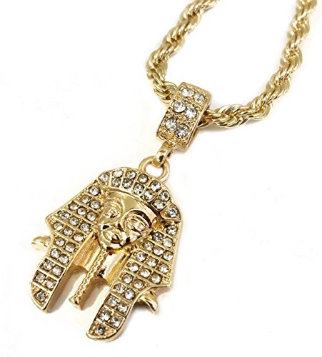 18k Gold Plated Egyptian Pharaoh King Tut Pendant Necklace with 24