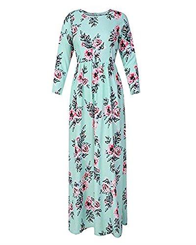 Chuanqi Sexy Imprimé Floral Manches 3/4 Maxi Robe Longueur De Plancher Pour Le Vert Du Parti Des Femmes