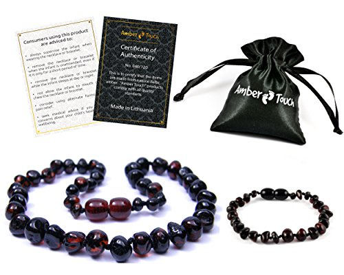 Baltic Amber Teething Necklace + Bracelet for Babies (Unisex) - Anti Flammatory, Drooling & Teething Pain Reduce Properties - Certificated Natural Baltic Amber with the Highest Quality. (Cherry) (Baltic Cherry)