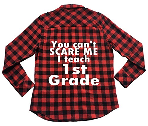 39s Apple - Apple Orange Gifts Can't Scare Me I Teach 1st Grade - Unisex Plaid Flannel Shirt