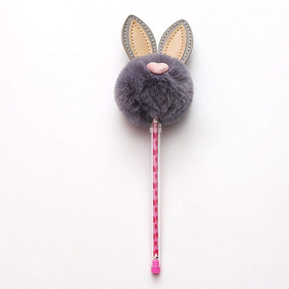 RoadRoma Penne Neutre dellinchiostro del Nero di Kawaii delle Penne del Coniglio delle Orecchie di Coniglio della Peluche di 0.5mm per i Bambini Gray