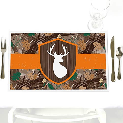 Gone Hunting - Party Table Decorations - Deer Hunting Camo Baby Shower or Birthday Party Placemats - Set of 12