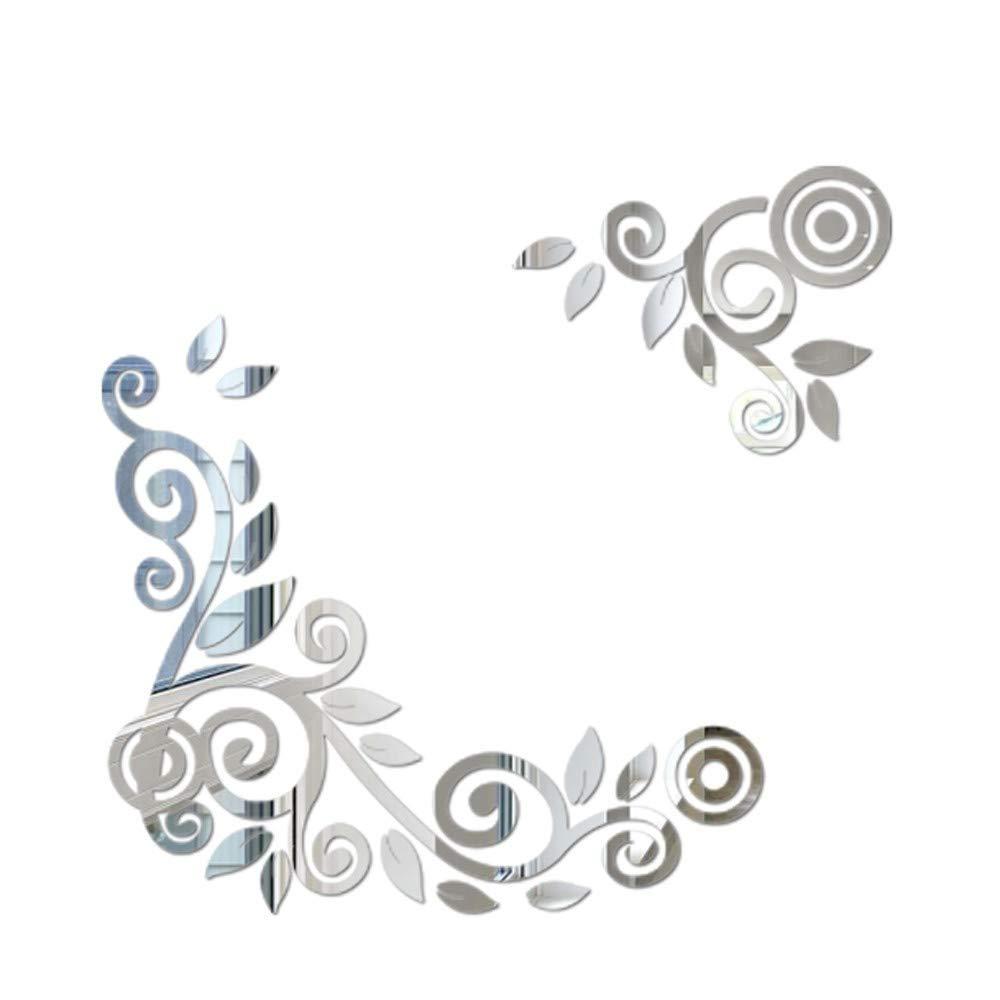 iYBWZH Wall Sticker 2PC/1Set 3D DIY Flower Shape Acrylic Modern Home Decoration