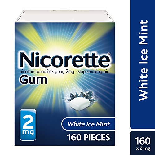 Nicorette Nicotine Gum to Quit Smoking, 2 mg, White Ice Mint Flavored Stop Smoking Aid, 160 Count (Pack of 1)