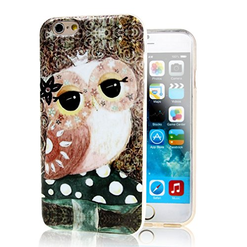 iphone 6 Plus Case , Leathlux Lovely Owl And Mushroom Soft TPU Gel Skin Case Cover for Apple iphone 6 Plus (5.5 inches)