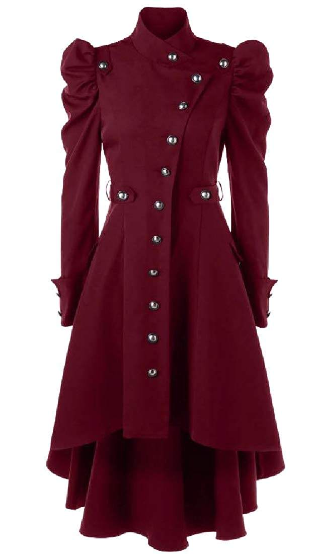 Red Spodat Women's Multi Button Design Medieval Skirted Duster Coat