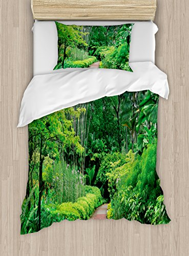 Forest Duvet Cover Set Twin Size by Ambesonne, Green Plants Trees in Singapore Asia Botanic Gardens Walkway Travel Destination Arboretum, Decorative 2 Piece Bedding Set with 1 Pillow Sham, - Stores In Arboretum