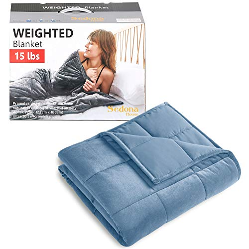 "Sedona House Heavy Blue Blanket for Adult 15lbs Size 48""x72"" Now $29.25"