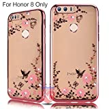 KC Shockproof Silicone Soft TPU Transparent Auora Flower Case with Sparkle Crystals for Honor 8 Back Cover (Rose Gold)
