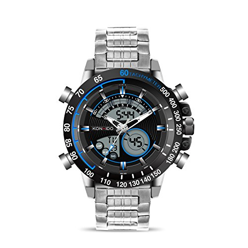 Big Date Automatic Watch - KONXIDO Mens Watches With Analog Digital Dual Display Auto Date Chronograph Watch Big Face Men Sports Watches Waterproof 50M Multi-functional Quartz Men's Watch